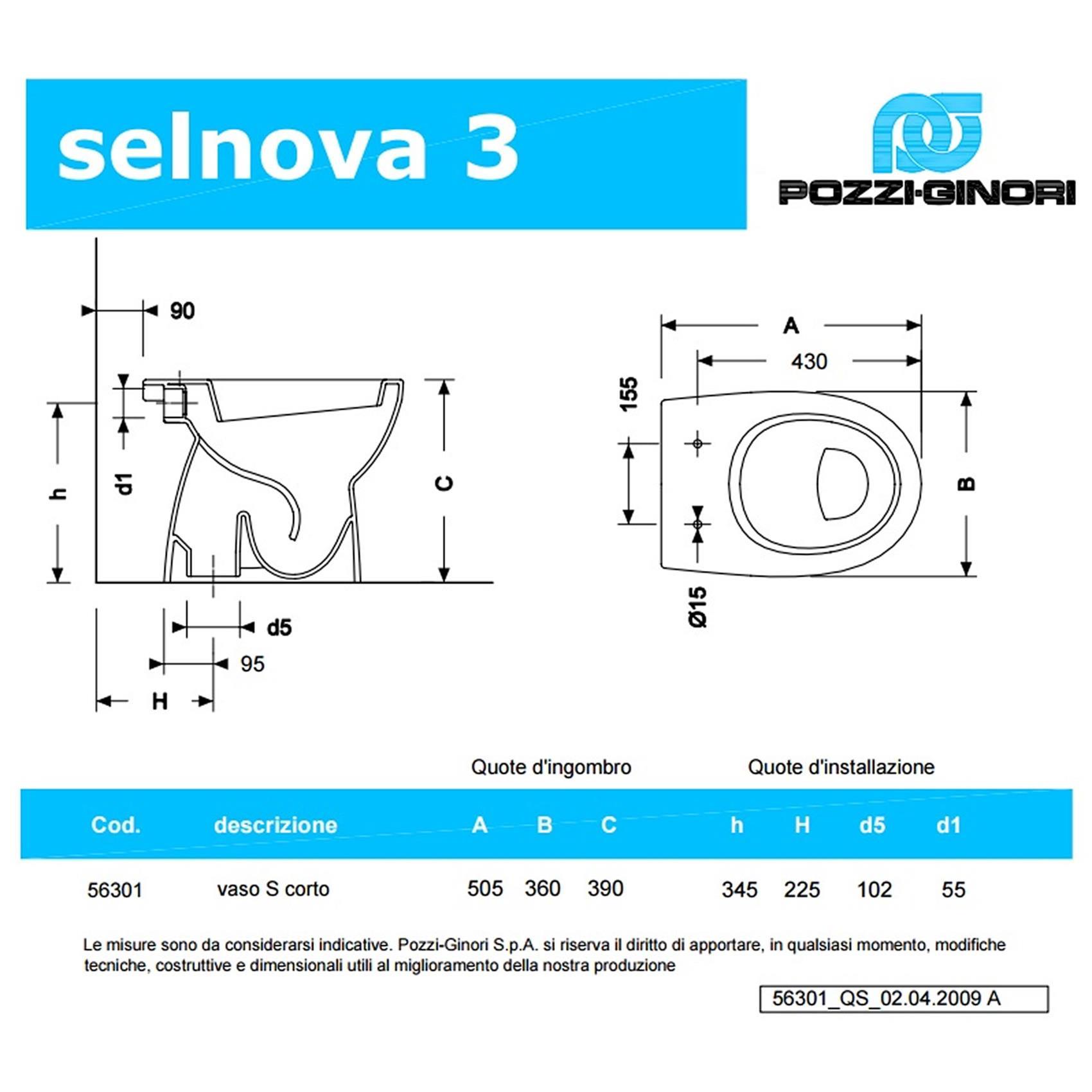 Sanitari da bagno a terra selnova 3 pozzi ginori lavabo - Scheda tecnica finestra ...