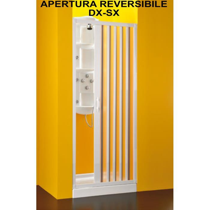 Porta doccia a soffietto 1 lato riducibile 80 100 cm - Porta a soffietto per doccia ...